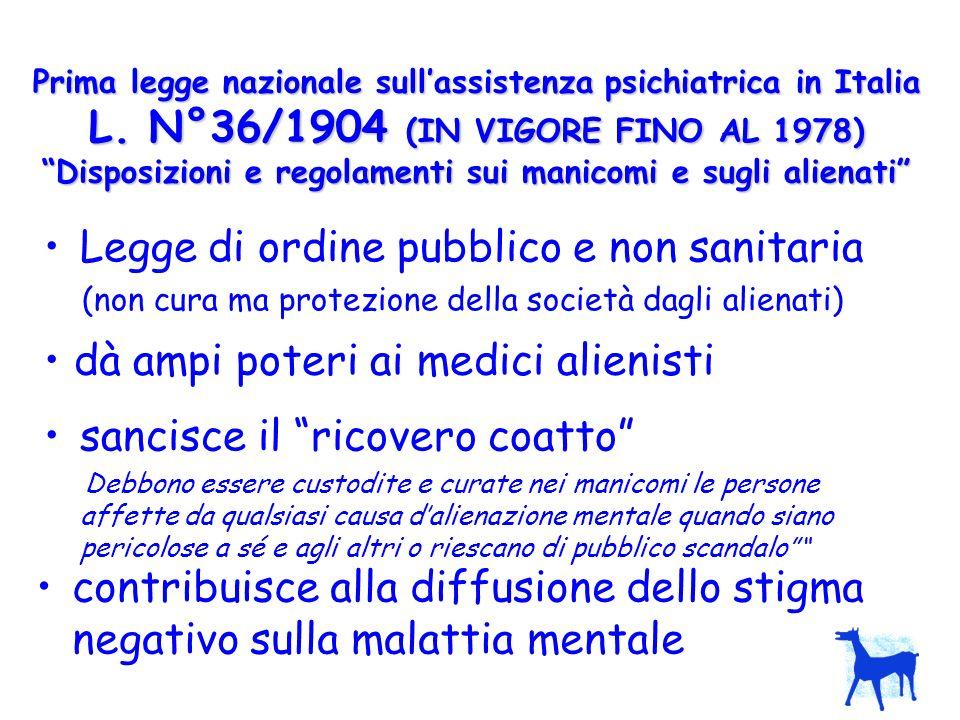 Prima legge nazionale sullassistenza psichiatrica in Italia L. N°36/1904 (IN VIGORE FINO AL 1978) Disposizioni e regolamenti sui manicomi e sugli alie