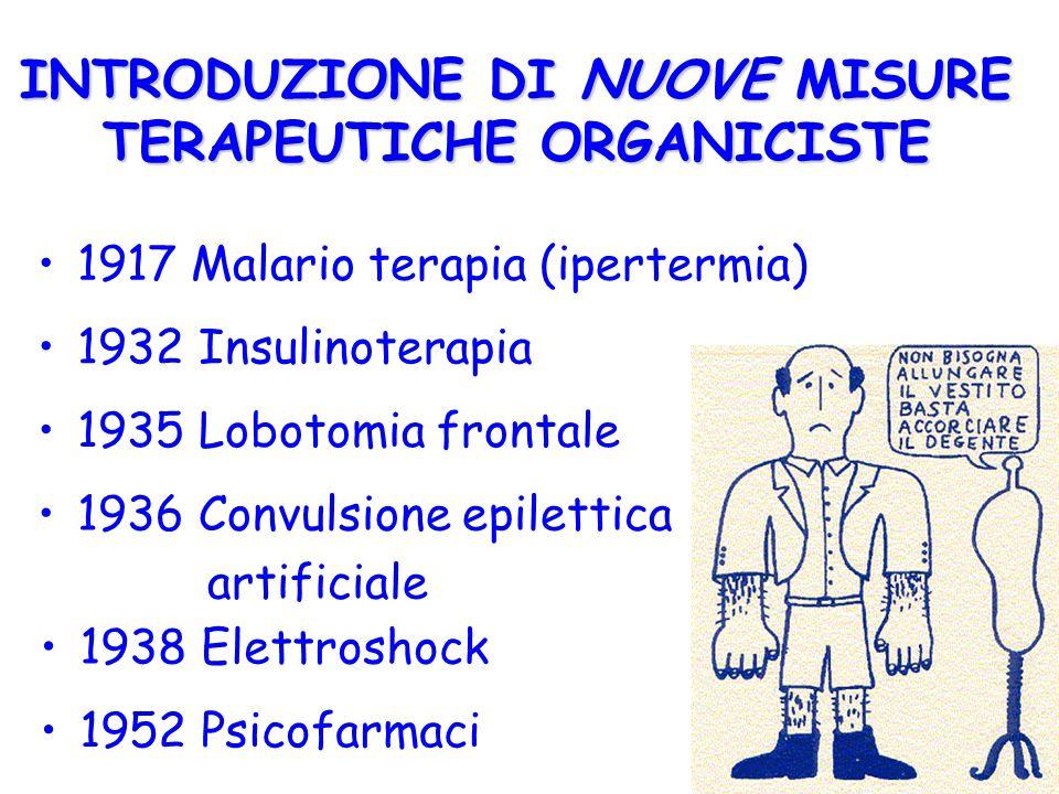 INTRODUZIONE DI NUOVE MISURE TERAPEUTICHE ORGANICISTE 1952 Psicofarmaci 1917 Malario terapia (ipertermia) 1932 Insulinoterapia 1938 Elettroshock 1936