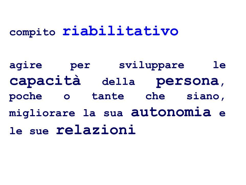 compito riabilitativo agire per sviluppare le capacità della persona, poche o tante che siano, migliorare la sua autonomia e le sue relazioni