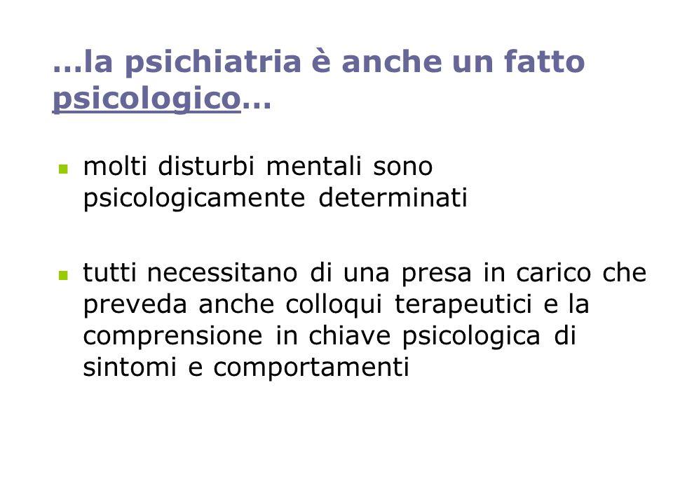 …la psichiatria è anche un fatto psicologico… molti disturbi mentali sono psicologicamente determinati tutti necessitano di una presa in carico che preveda anche colloqui terapeutici e la comprensione in chiave psicologica di sintomi e comportamenti