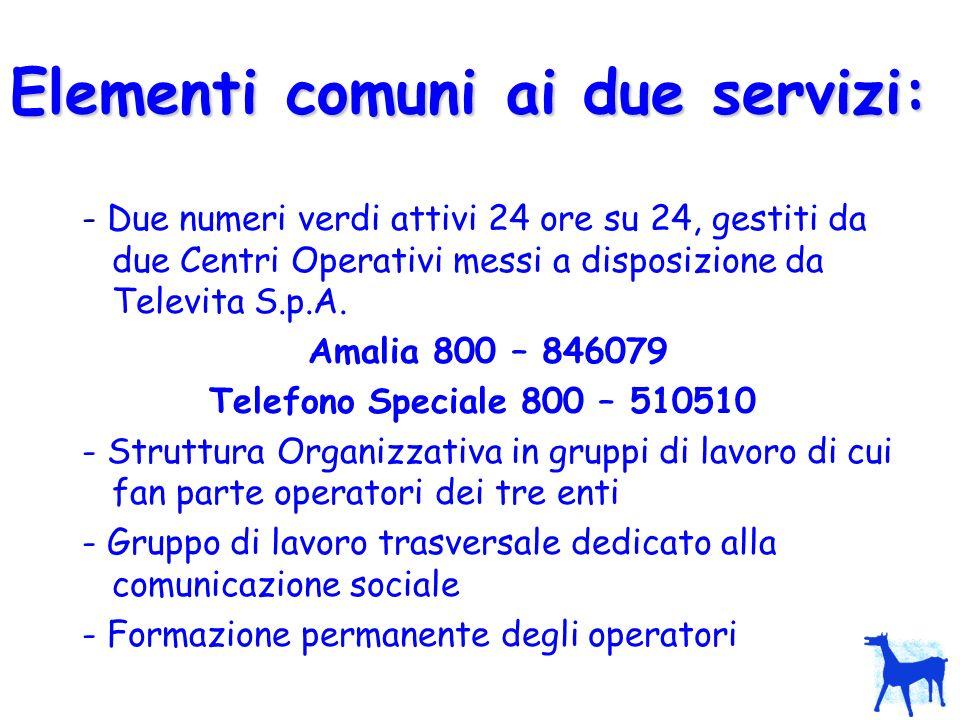 Elementi comuni ai due servizi: - Due numeri verdi attivi 24 ore su 24, gestiti da due Centri Operativi messi a disposizione da Televita S.p.A. Amalia