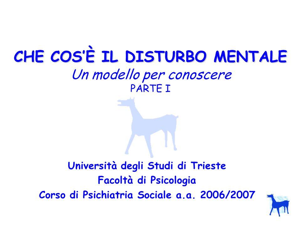 CHE COSÈ IL DISTURBO MENTALE CHE COSÈ IL DISTURBO MENTALE Un modello per conoscere PARTE I Università degli Studi di Trieste Facoltà di Psicologia Cor