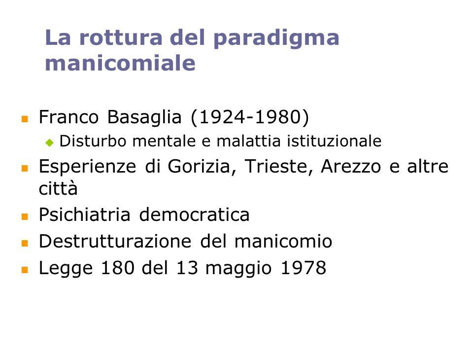 La rottura del paradigma manicomiale Franco Basaglia (1924-1980) Disturbo mentale e malattia istituzionale Esperienze di Gorizia, Trieste, Arezzo e al