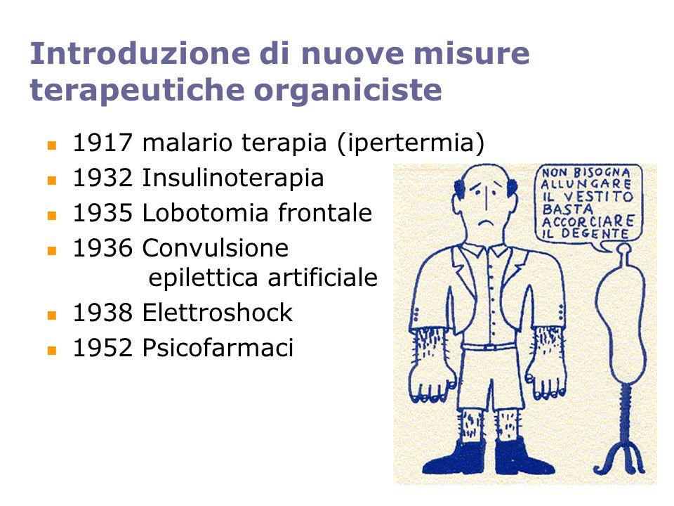 Introduzione di nuove misure terapeutiche organiciste 1917 malario terapia (ipertermia) 1932 Insulinoterapia 1935 Lobotomia frontale 1936 Convulsione