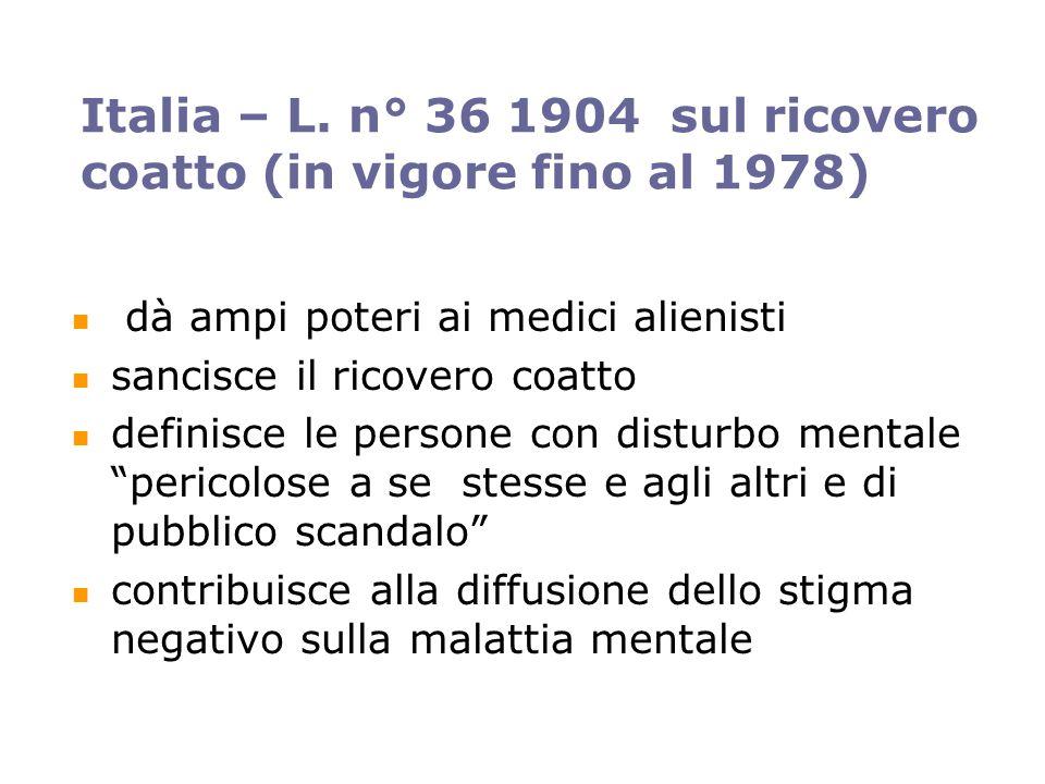 Italia – L. n° 36 1904 sul ricovero coatto (in vigore fino al 1978) dà ampi poteri ai medici alienisti sancisce il ricovero coatto definisce le person