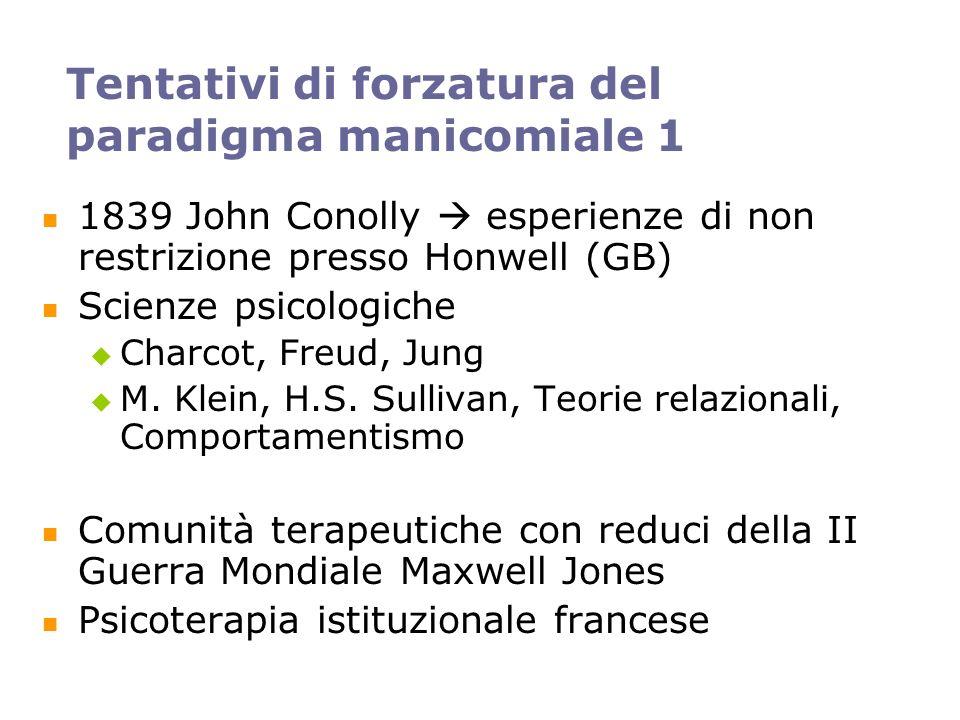 Tentativi di forzatura del paradigma manicomiale 1 1839 John Conolly esperienze di non restrizione presso Honwell (GB) Scienze psicologiche Charcot, F