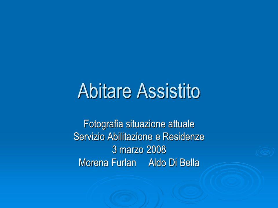 Abitare Assistito Fotografia situazione attuale Servizio Abilitazione e Residenze 3 marzo 2008 Morena Furlan Aldo Di Bella