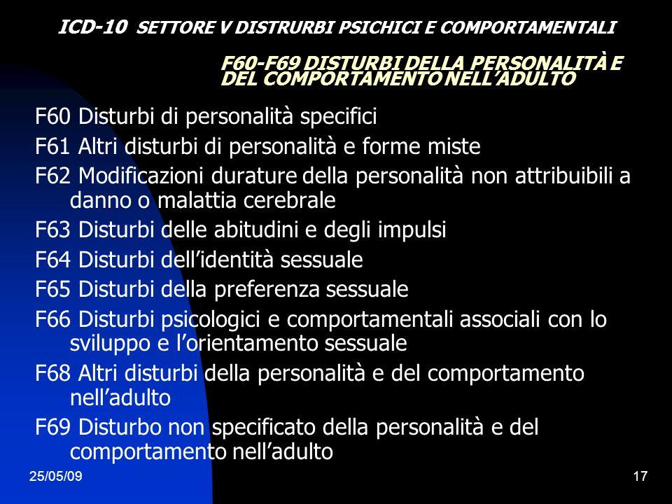 25/05/0917 F60-F69 DISTURBI DELLA PERSONALITÀ E DEL COMPORTAMENTO NELLADULTO F60 Disturbi di personalità specifici F61 Altri disturbi di personalità e