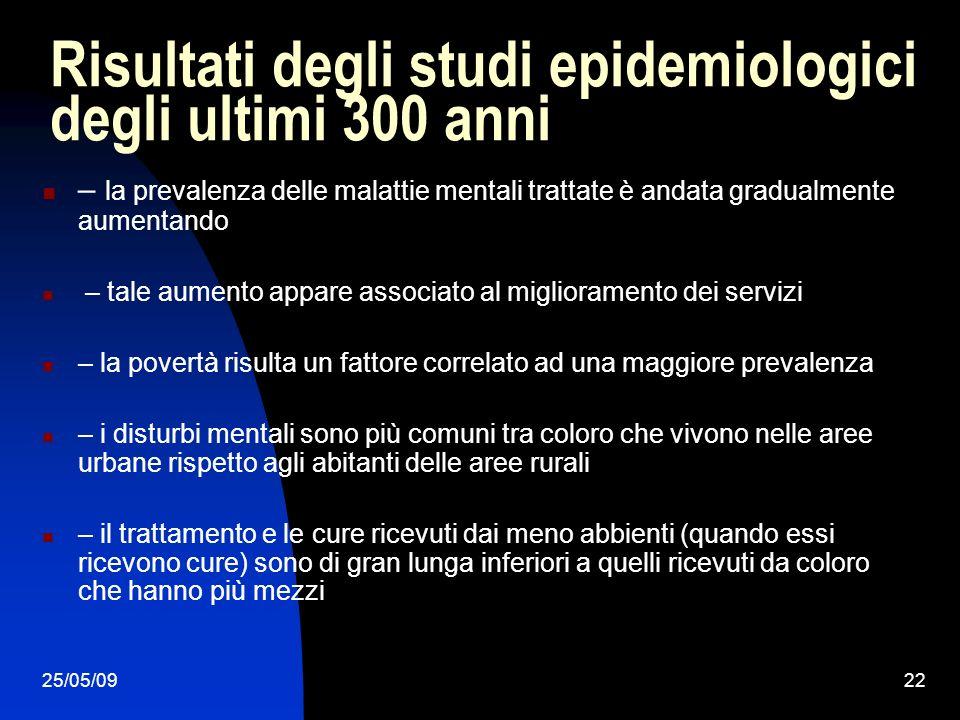 25/05/0922 Risultati degli studi epidemiologici degli ultimi 300 anni – la prevalenza delle malattie mentali trattate è andata gradualmente aumentando