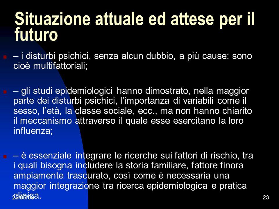 25/05/0923 Situazione attuale ed attese per il futuro – i disturbi psichici, senza alcun dubbio, a più cause: sono cioè multifattoriali; – gli studi epidemiologici hanno dimostrato, nella maggior parte dei disturbi psichici, limportanza di variabili come il sesso, letà, la classe sociale, ecc., ma non hanno chiarito il meccanismo attraverso il quale esse esercitano la loro influenza; – è essenziale integrare le ricerche sui fattori di rischio, tra i quali bisogna includere la storia familiare, fattore finora ampiamente trascurato, così come è necessaria una maggior integrazione tra ricerca epidemiologica e pratica clinica.