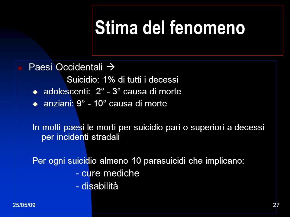 25/05/0927 Stima del fenomeno Paesi Occidentali Suicidio: 1% di tutti i decessi adolescenti: 2° - 3° causa di morte anziani: 9° - 10° causa di morte In molti paesi le morti per suicidio pari o superiori a decessi per incidenti stradali Per ogni suicidio almeno 10 parasuicidi che implicano: - cure mediche - disabilità
