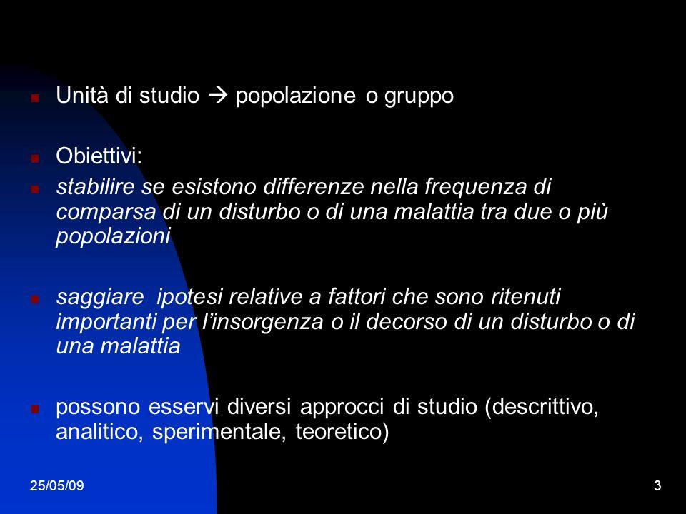 25/05/093 Unità di studio popolazione o gruppo Obiettivi: stabilire se esistono differenze nella frequenza di comparsa di un disturbo o di una malatti