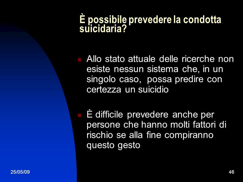 25/05/0946 È possibile prevedere la condotta suicidaria? Allo stato attuale delle ricerche non esiste nessun sistema che, in un singolo caso, possa pr