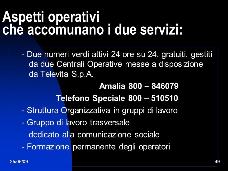 25/05/0949 Aspetti operativi che accomunano i due servizi: - Due numeri verdi attivi 24 ore su 24, gratuiti, gestiti da due Centrali Operative messe a disposizione da Televita S.p.A.