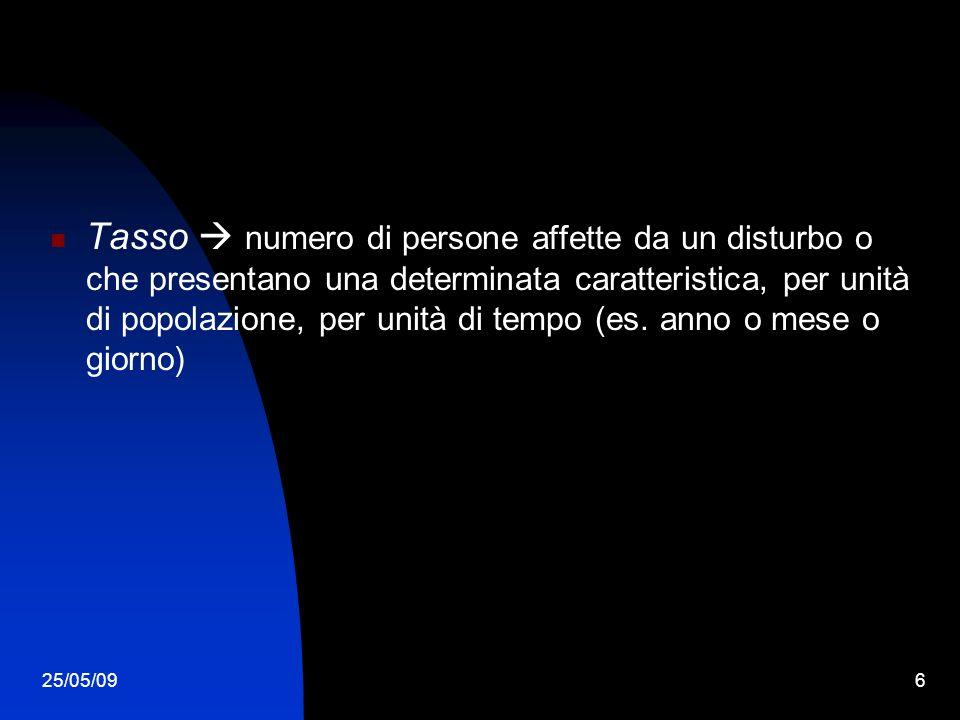 25/05/096 Tasso numero di persone affette da un disturbo o che presentano una determinata caratteristica, per unità di popolazione, per unità di tempo (es.