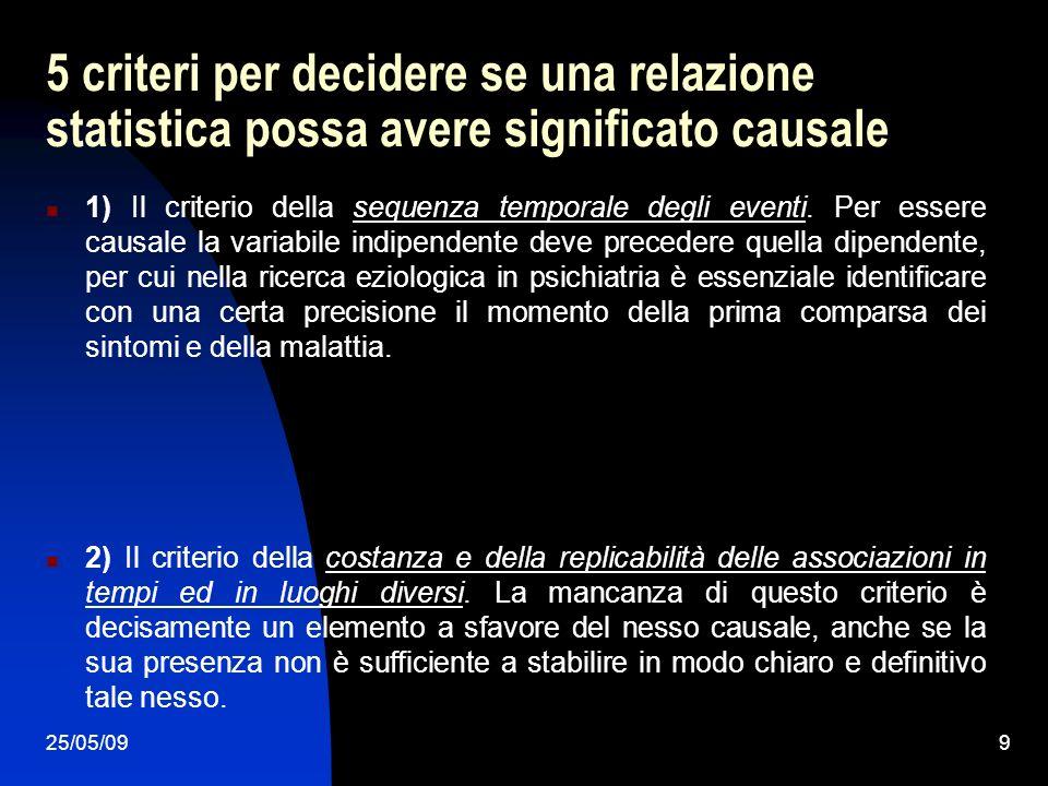 25/05/099 5 criteri per decidere se una relazione statistica possa avere significato causale 1) Il criterio della sequenza temporale degli eventi. Per