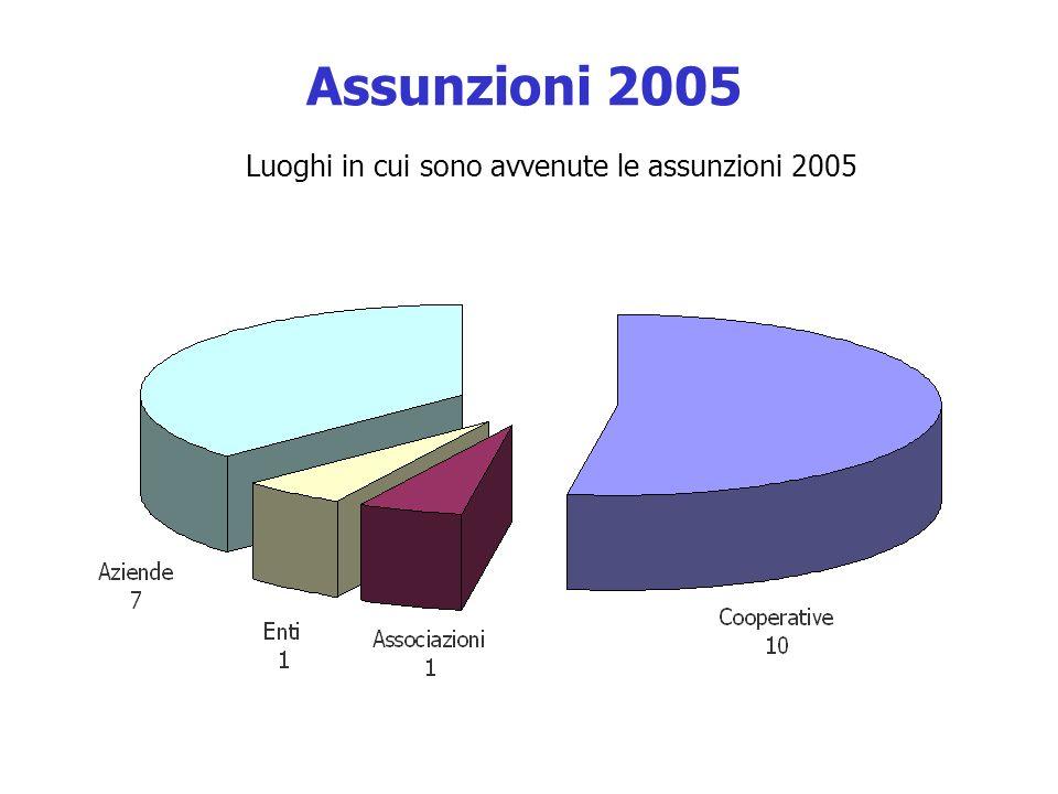 Assunzioni 2005 Luoghi in cui sono avvenute le assunzioni 2005