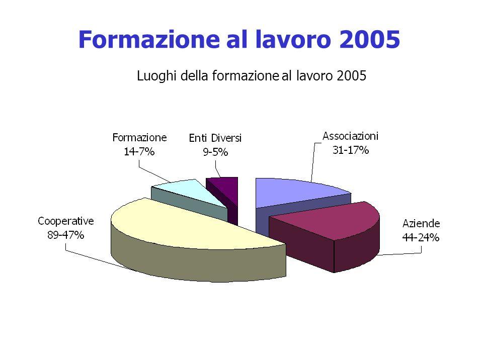 Formazione al lavoro 2005 Luoghi della formazione al lavoro 2005