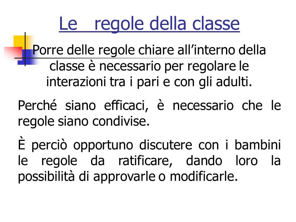 Le regole della classe Porre delle regole chiare allinterno della classe è necessario per regolare le interazioni tra i pari e con gli adulti.