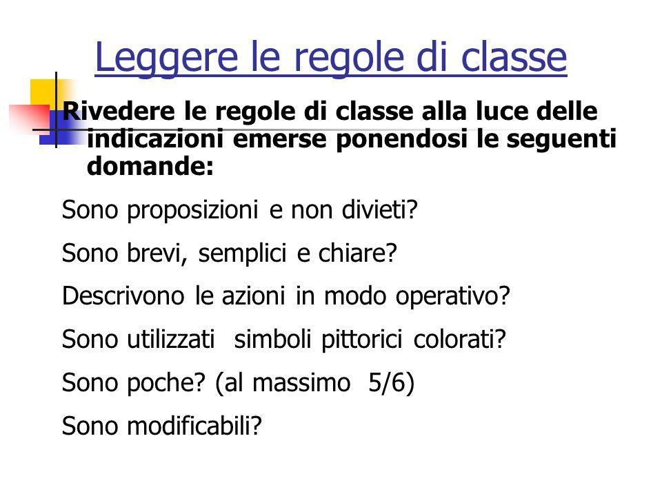 Leggere le regole di classe Rivedere le regole di classe alla luce delle indicazioni emerse ponendosi le seguenti domande: Sono proposizioni e non divieti.
