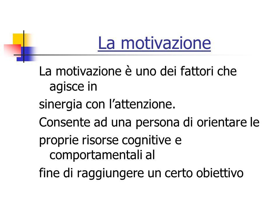 La motivazione La motivazione è uno dei fattori che agisce in sinergia con lattenzione.