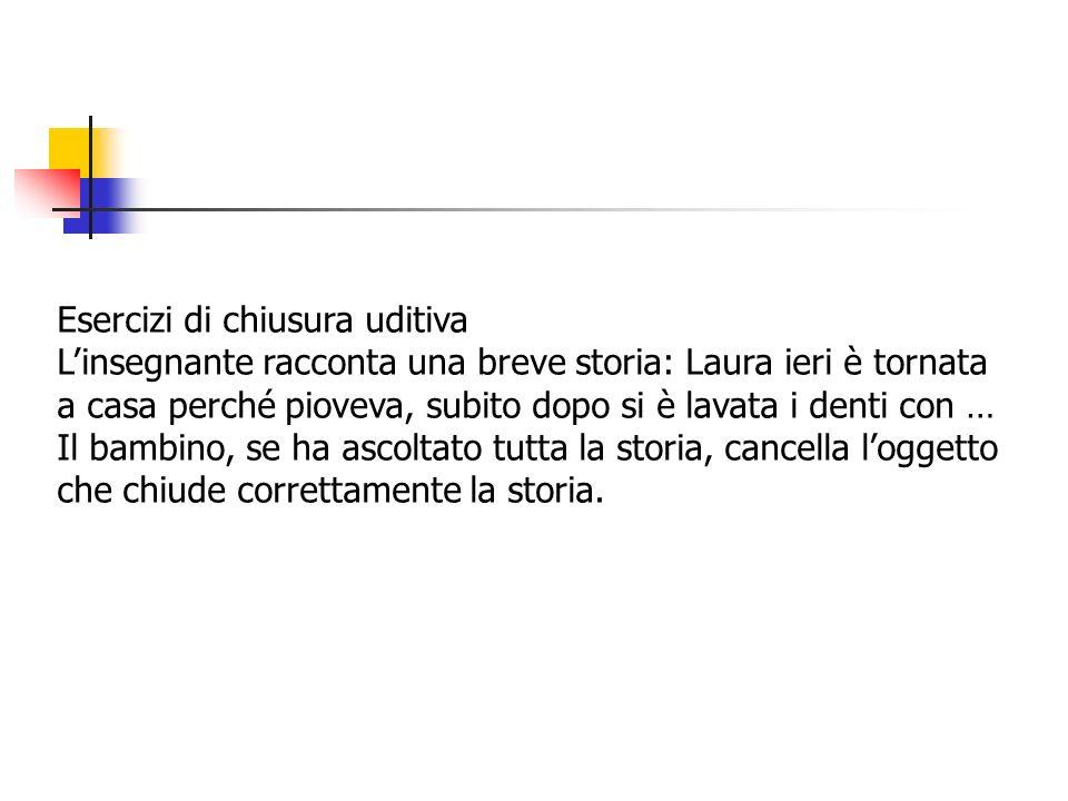 Esercizi di chiusura uditiva Linsegnante racconta una breve storia: Laura ieri è tornata a casa perché pioveva, subito dopo si è lavata i denti con … Il bambino, se ha ascoltato tutta la storia, cancella loggetto che chiude correttamente la storia.