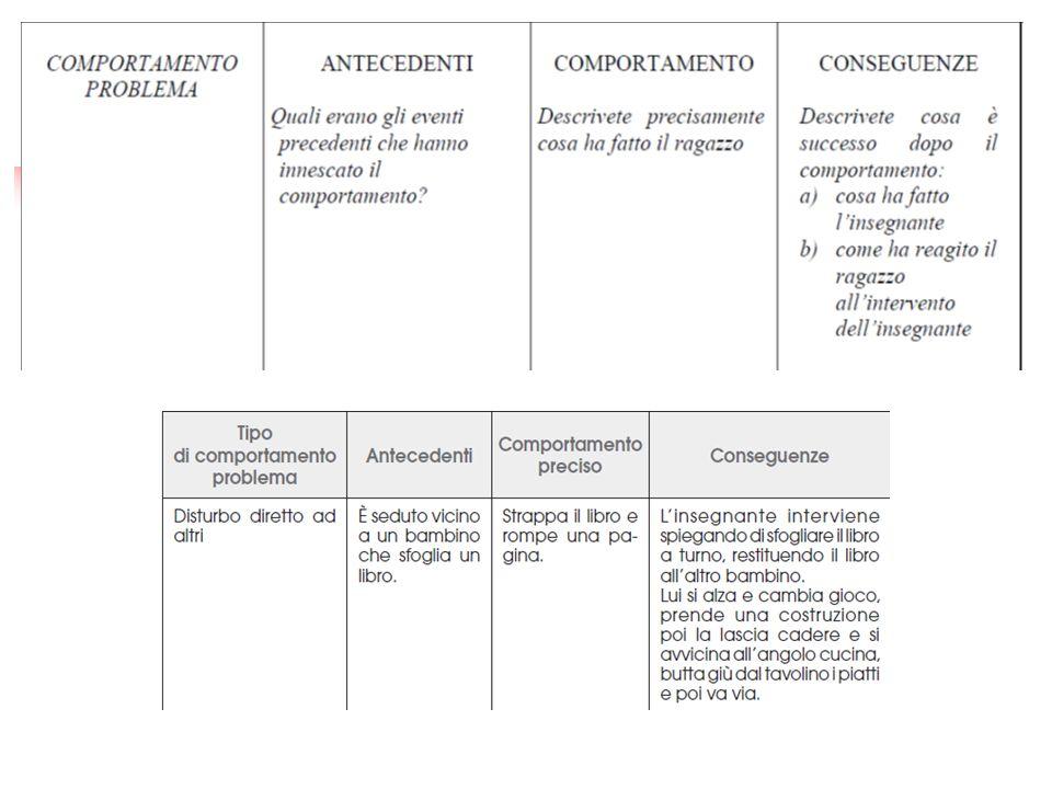 La scelta degli obiettivi e delle regole Dalle osservazioni occasionali e funzionali si definiscono i comportamenti disturbanti e quindi le regole da rispettare.