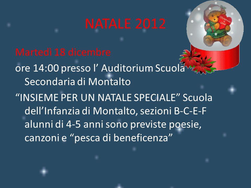 Mercoledì 19 dicembre presso il Teatro Lea Padovani ore 9:00 Scuola Primaria Montalto di Castro La notte in cui Babbo Natale perse la bussola classi prime, seconde e terze.