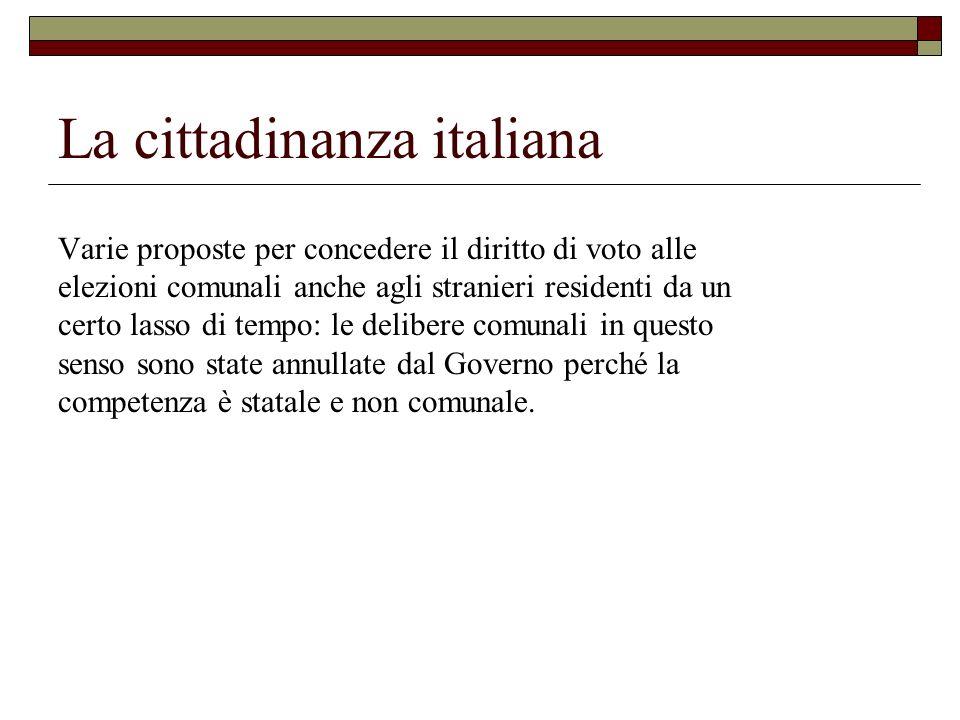 La cittadinanza italiana Varie proposte per concedere il diritto di voto alle elezioni comunali anche agli stranieri residenti da un certo lasso di te