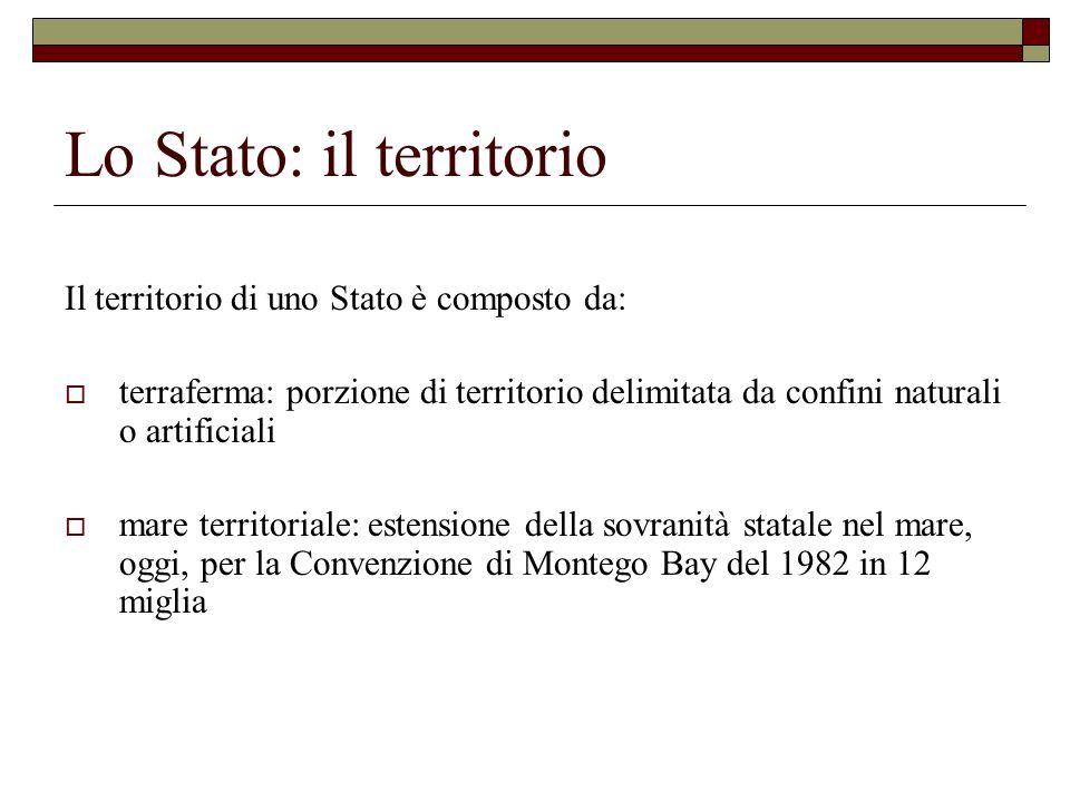 Lo Stato: il territorio Il territorio di uno Stato è composto da: terraferma: porzione di territorio delimitata da confini naturali o artificiali mare