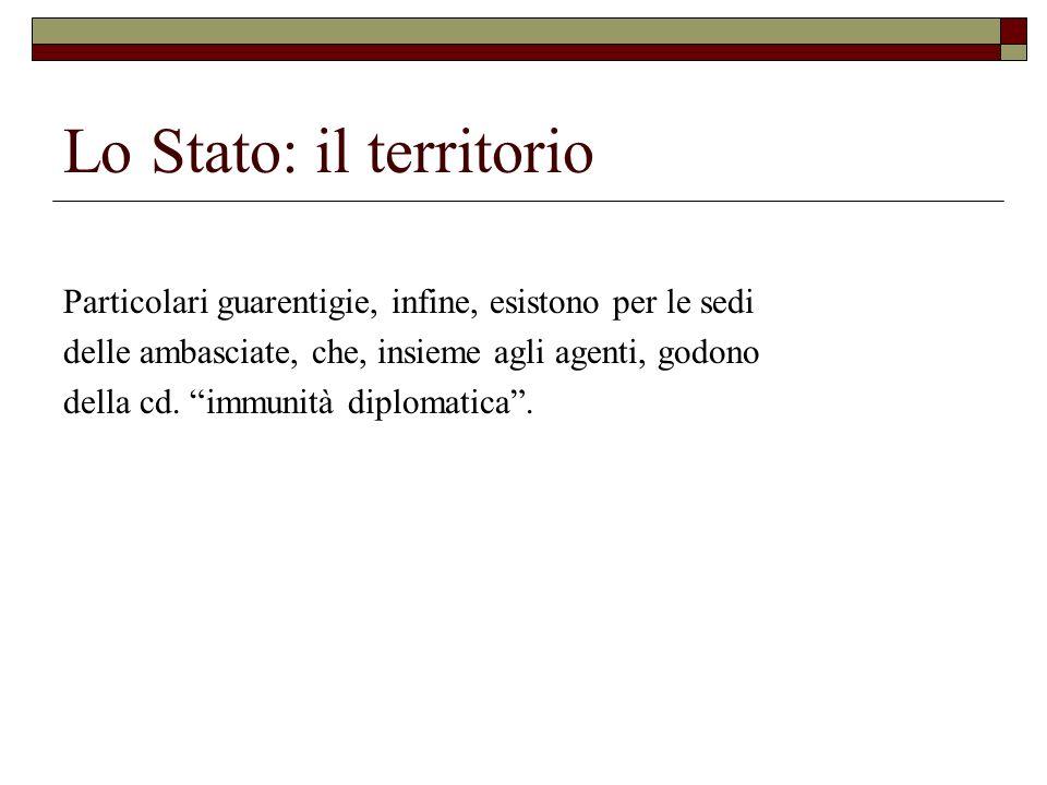 Lo Stato: il territorio Particolari guarentigie, infine, esistono per le sedi delle ambasciate, che, insieme agli agenti, godono della cd. immunità di