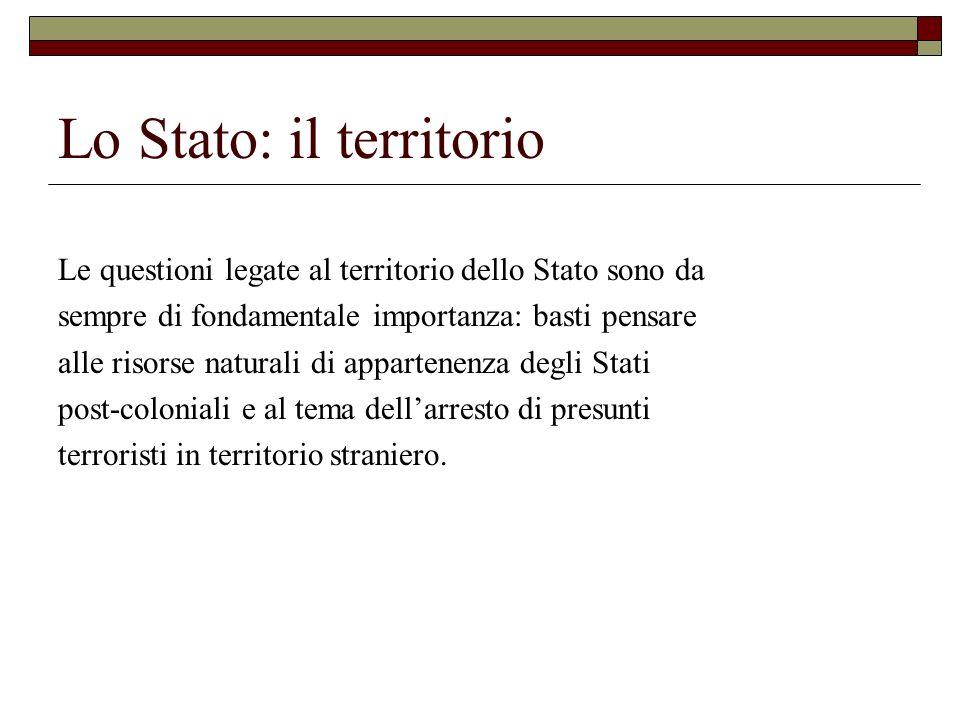 Lo Stato: il territorio Le questioni legate al territorio dello Stato sono da sempre di fondamentale importanza: basti pensare alle risorse naturali d