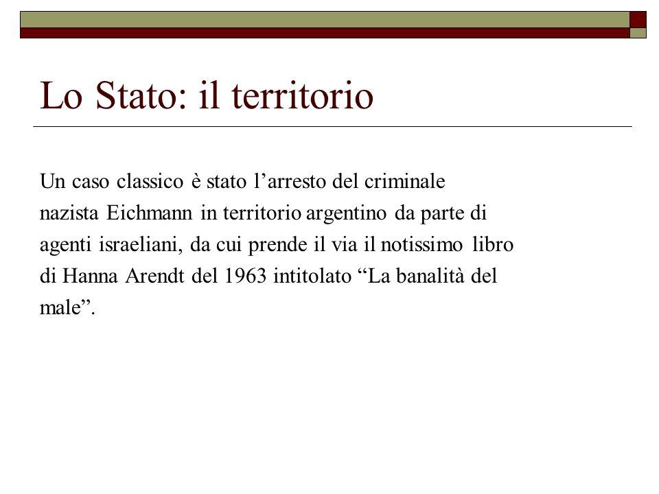 Lo Stato: il territorio Un caso classico è stato larresto del criminale nazista Eichmann in territorio argentino da parte di agenti israeliani, da cui