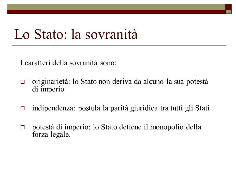 Lo Stato: la sovranità I caratteri della sovranità sono: originarietà: lo Stato non deriva da alcuno la sua potestà di imperio indipendenza: postula l