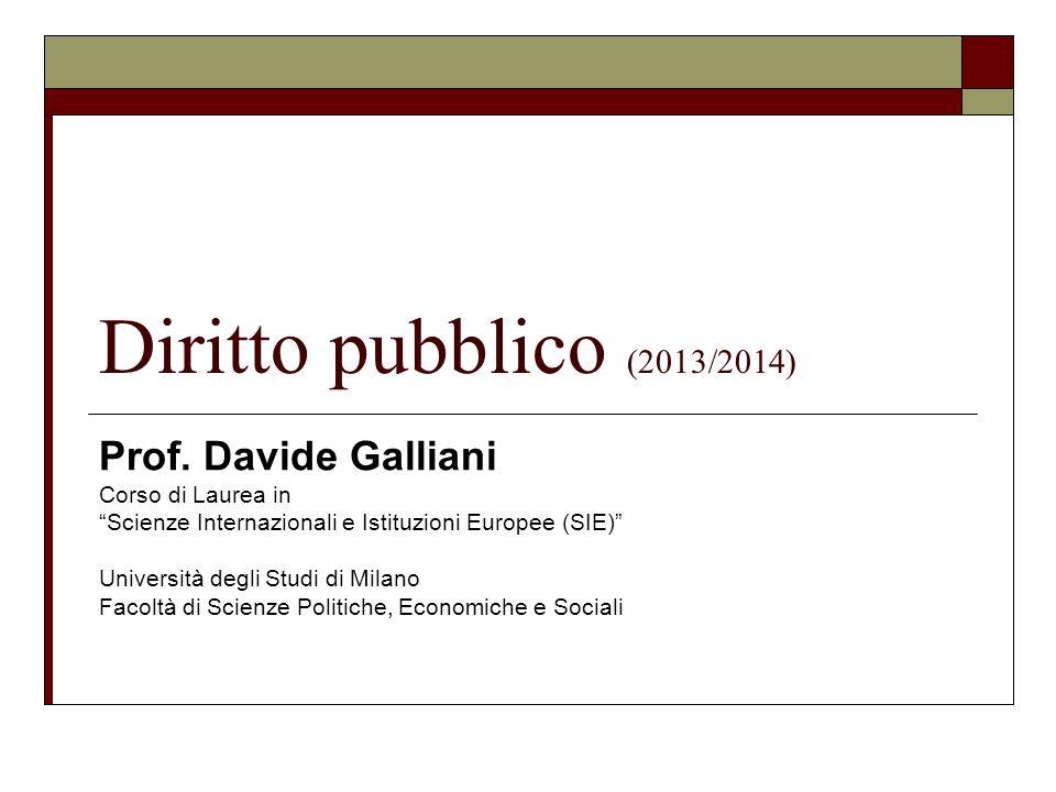 Diritto pubblico (2013/2014) Prof. Davide Galliani Corso di Laurea in Scienze Internazionali e Istituzioni Europee (SIE) Università degli Studi di Mil