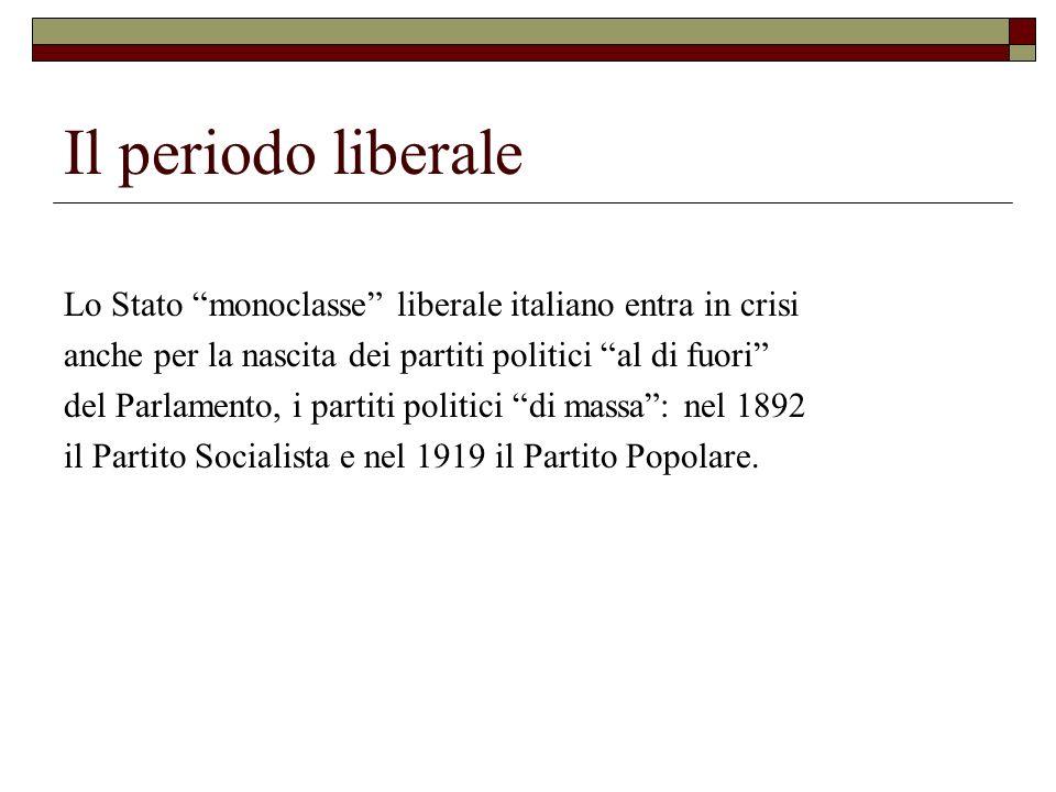 Il periodo liberale Lo Stato monoclasse liberale italiano entra in crisi anche per la nascita dei partiti politici al di fuori del Parlamento, i parti