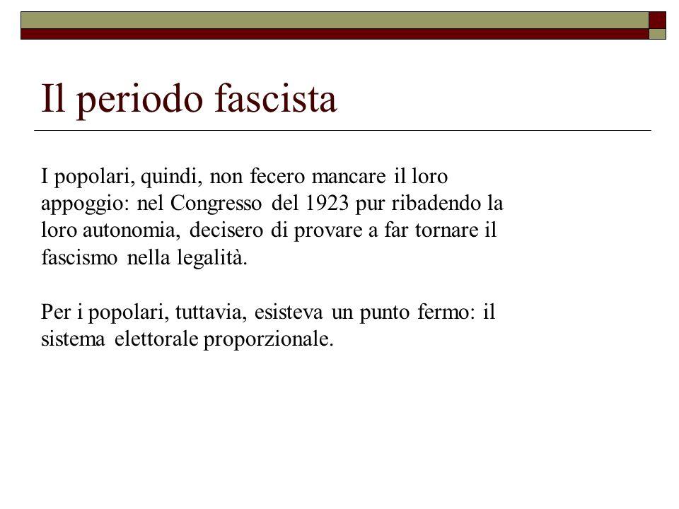 Il periodo fascista I popolari, quindi, non fecero mancare il loro appoggio: nel Congresso del 1923 pur ribadendo la loro autonomia, decisero di prova