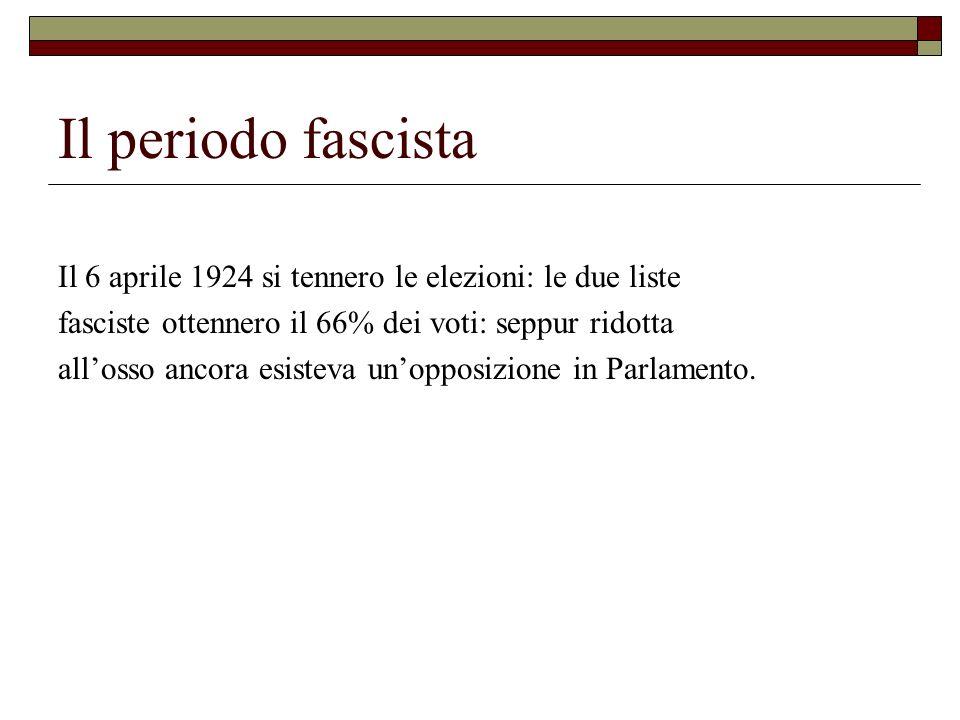 Il periodo fascista Il 6 aprile 1924 si tennero le elezioni: le due liste fasciste ottennero il 66% dei voti: seppur ridotta allosso ancora esisteva u