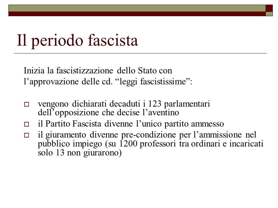 Il periodo fascista Inizia la fascistizzazione dello Stato con lapprovazione delle cd. leggi fascistissime: vengono dichiarati decaduti i 123 parlamen