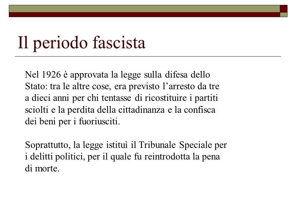 Il periodo fascista Nel 1926 è approvata la legge sulla difesa dello Stato: tra le altre cose, era previsto larresto da tre a dieci anni per chi tenta
