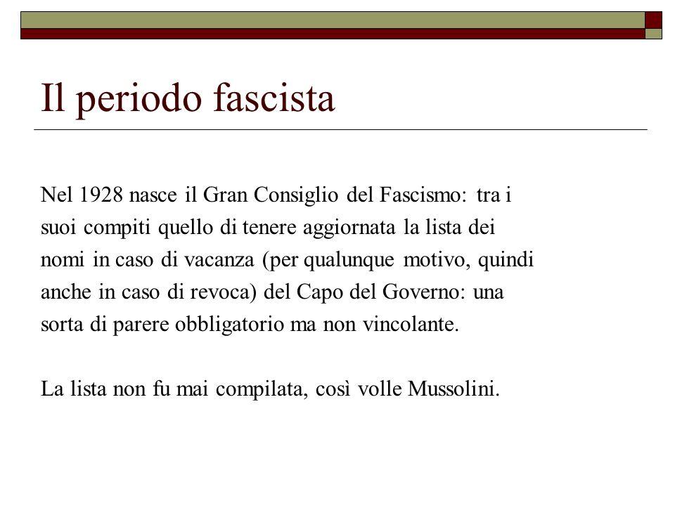 Il periodo fascista Nel 1928 nasce il Gran Consiglio del Fascismo: tra i suoi compiti quello di tenere aggiornata la lista dei nomi in caso di vacanza