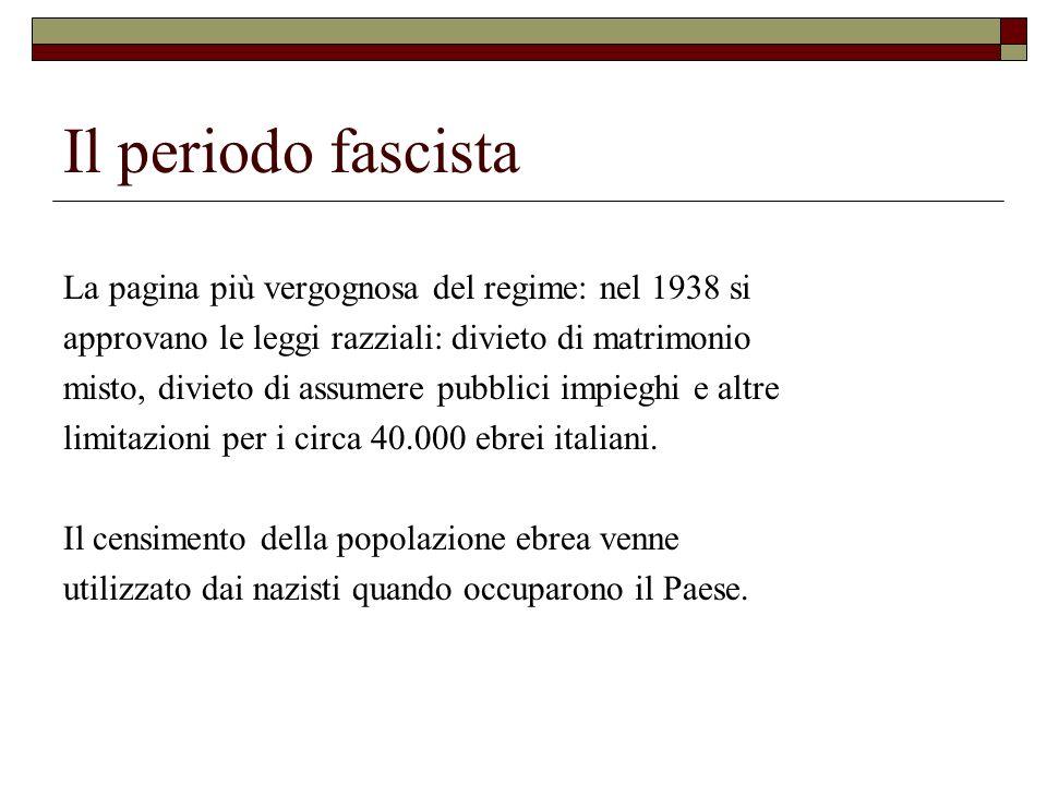 Il periodo fascista La pagina più vergognosa del regime: nel 1938 si approvano le leggi razziali: divieto di matrimonio misto, divieto di assumere pub