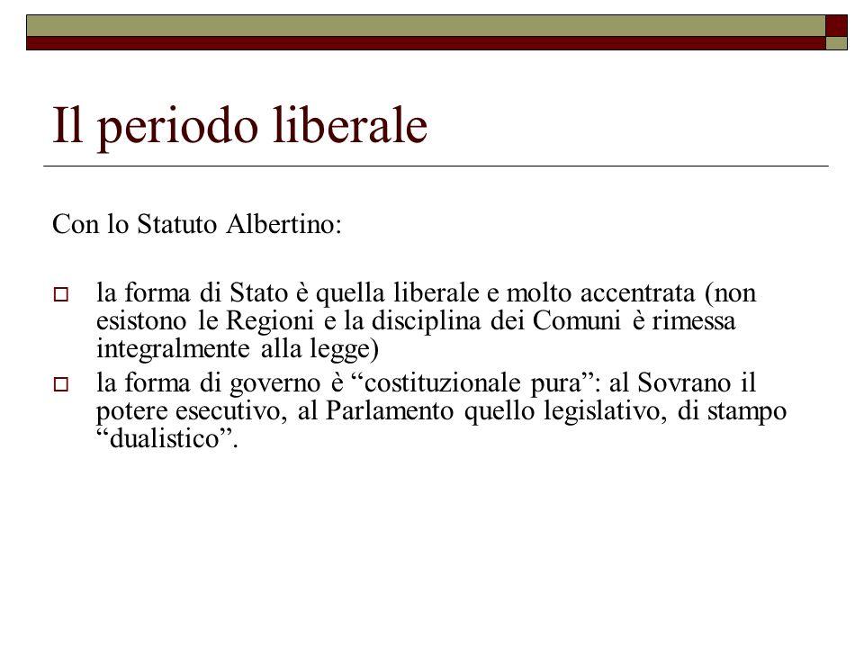 Il periodo liberale Con lo Statuto Albertino: la forma di Stato è quella liberale e molto accentrata (non esistono le Regioni e la disciplina dei Comu