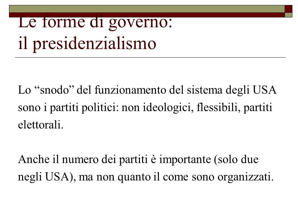 Le forme di governo: il presidenzialismo Lo snodo del funzionamento del sistema degli USA sono i partiti politici: non ideologici, flessibili, partiti