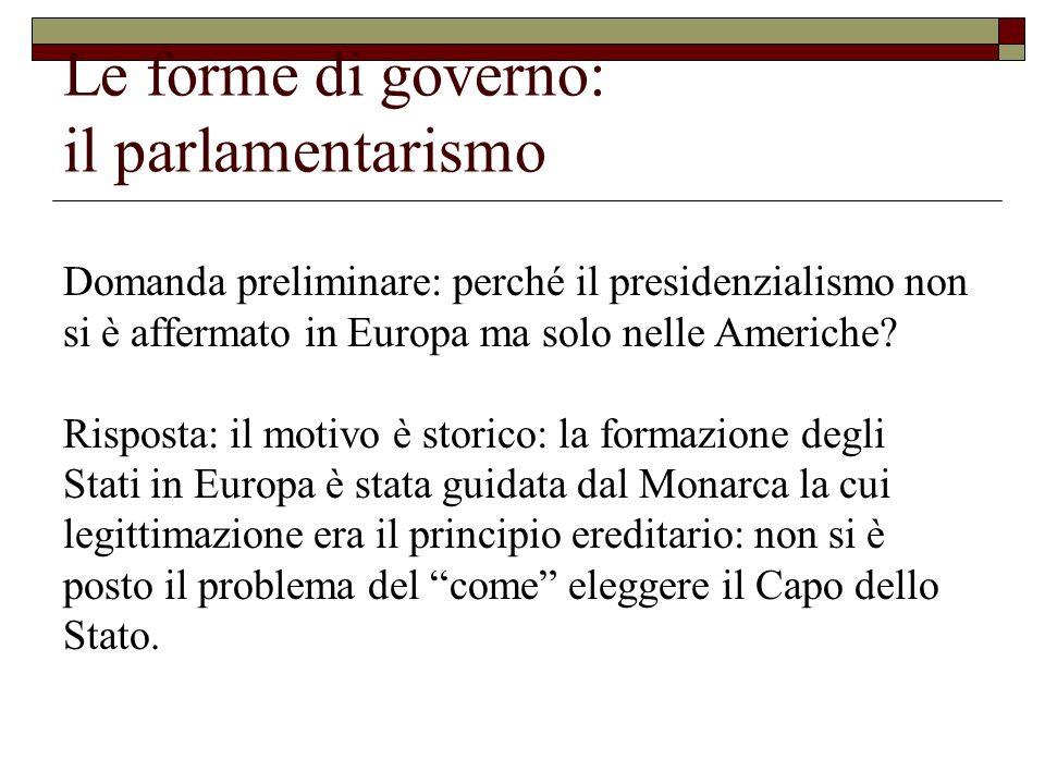 Le forme di governo: il parlamentarismo Domanda preliminare: perché il presidenzialismo non si è affermato in Europa ma solo nelle Americhe? Risposta: