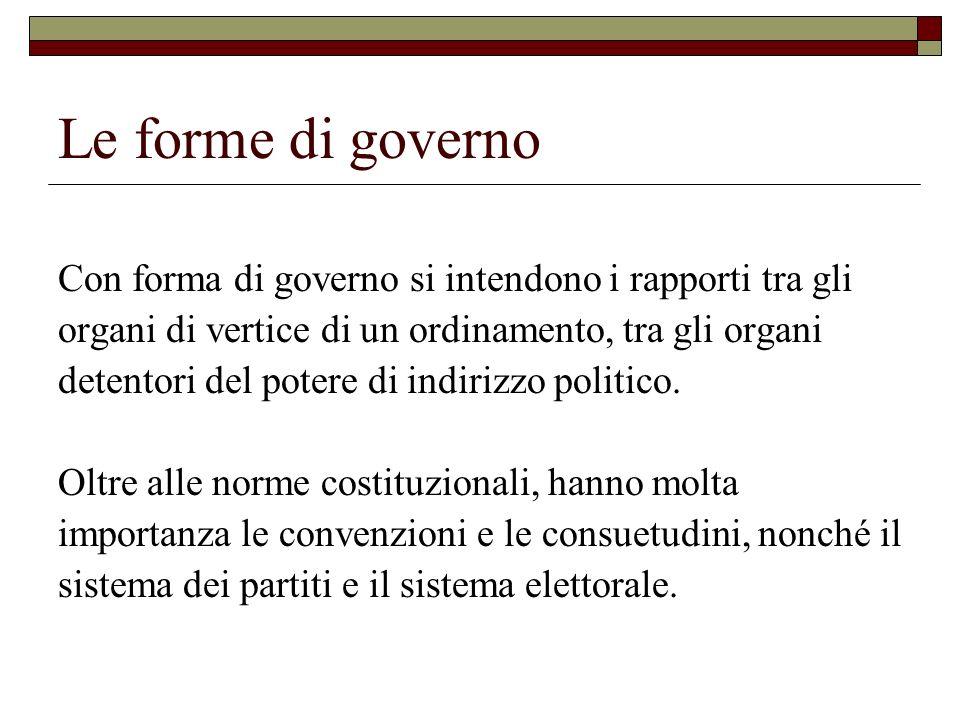 Le forme di governo Con forma di governo si intendono i rapporti tra gli organi di vertice di un ordinamento, tra gli organi detentori del potere di i