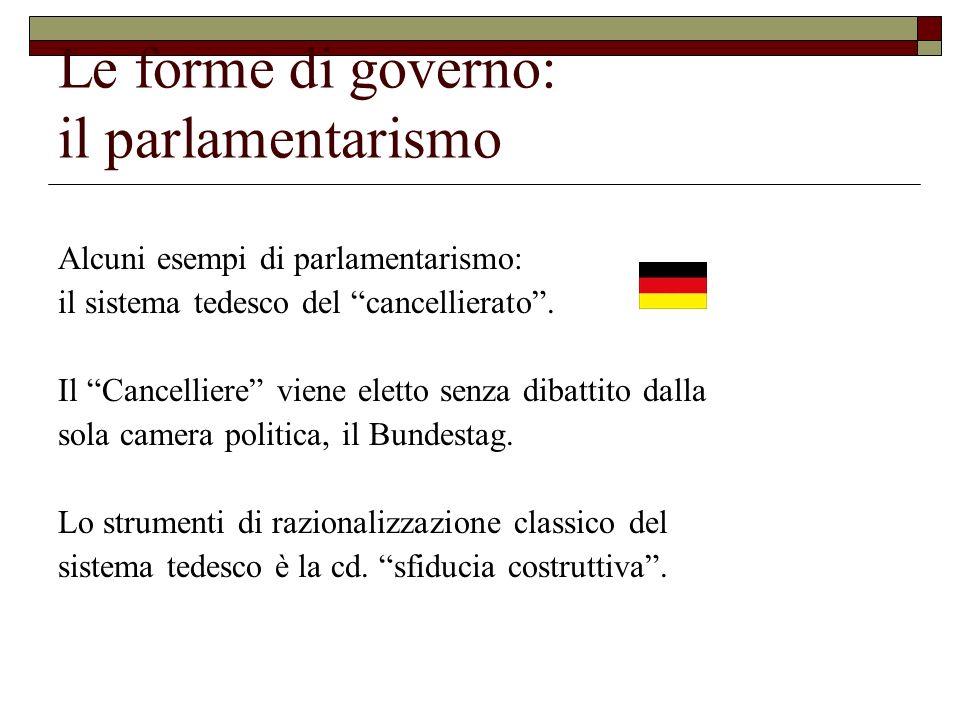 Le forme di governo: il parlamentarismo Alcuni esempi di parlamentarismo: il sistema tedesco del cancellierato. Il Cancelliere viene eletto senza diba