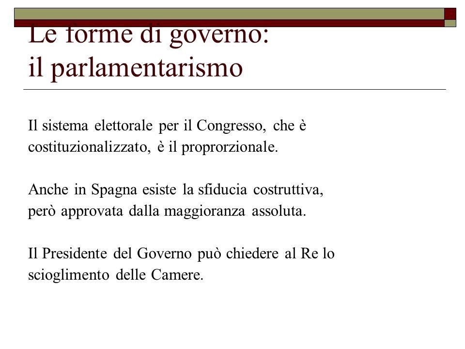 Il sistema elettorale per il Congresso, che è costituzionalizzato, è il proprorzionale. Anche in Spagna esiste la sfiducia costruttiva, però approvata