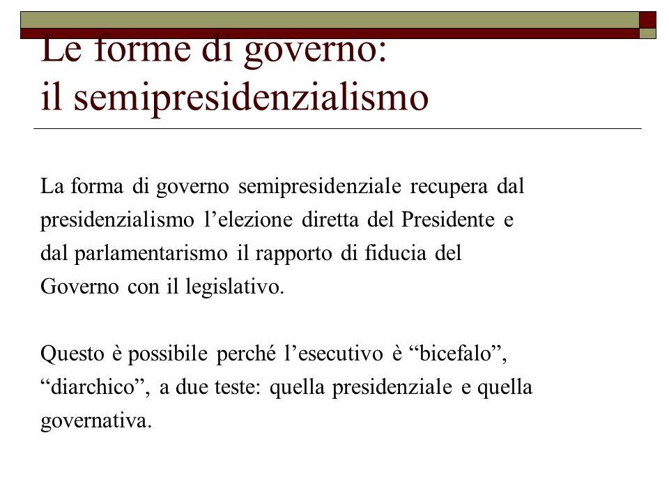 Le forme di governo: il semipresidenzialismo La forma di governo semipresidenziale recupera dal presidenzialismo lelezione diretta del Presidente e da