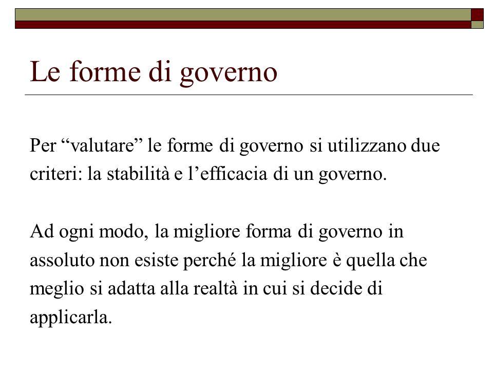 Le forme di governo Per valutare le forme di governo si utilizzano due criteri: la stabilità e lefficacia di un governo. Ad ogni modo, la migliore for